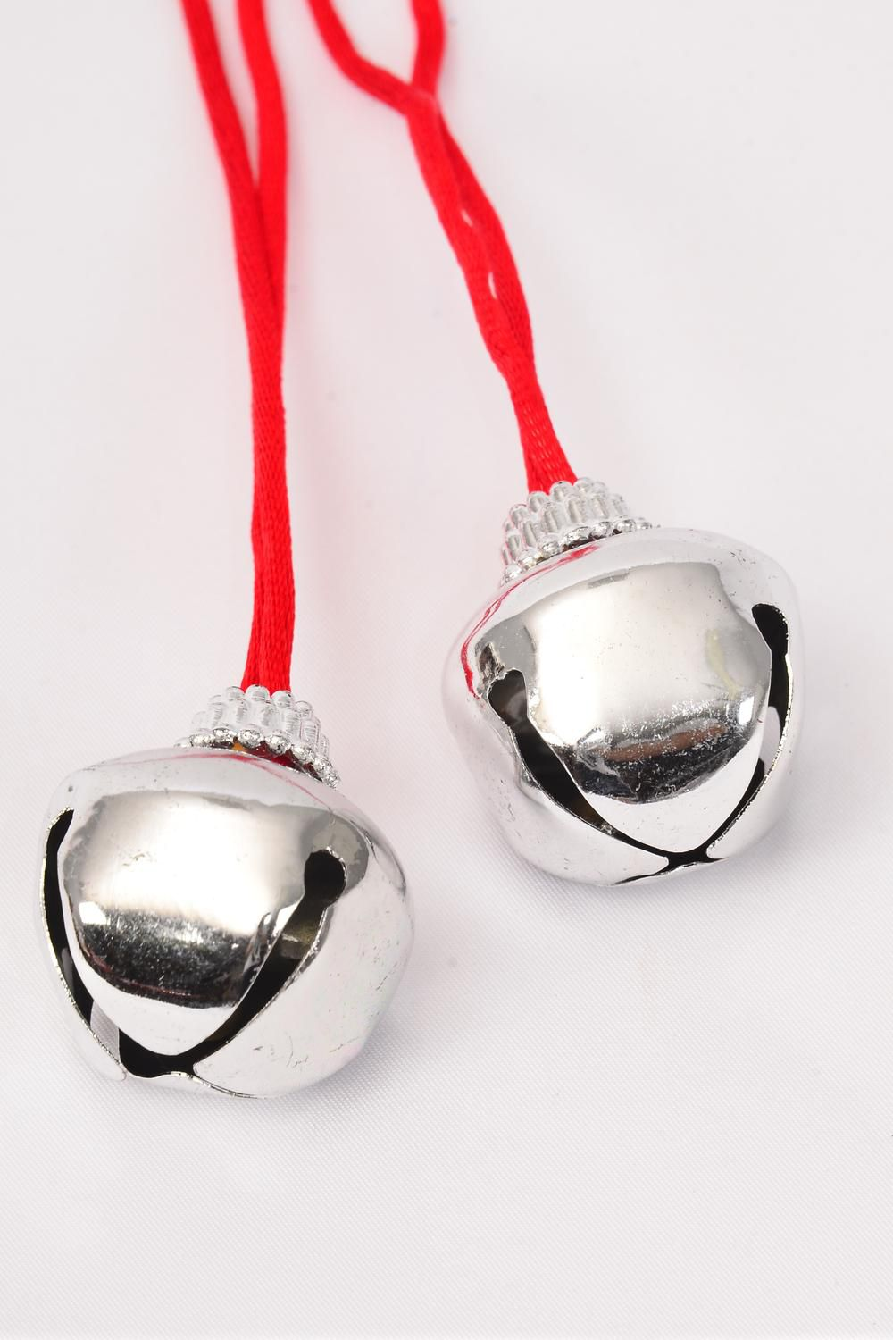 "Jingle Bell Necklace Silver/DZ **Silver** Bell Size-3.5 cm Wide,36"" Long,Hang tag & OPP bag & UPC Code -"