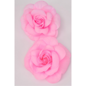 "Silk Flower Large Rose Baby Pink Mix Alligator Clip/DZ **Baby Pink Mix** Size-5.5"" Wide, Alligator Clip & Elastic Pony & Brooch,6 of each each Color Asst,Display Card & UPC Code,W Clear Box -"