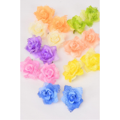 "Flowers 24 pcs Rose Lace Pastel Alligator Clip/DZ **Pastel** Size-2.75"" wide,2 Pink,2 Lavender,2 Beige,2 Yellow,1 Peach,1 Lime,1 Orange,1 Blue,Alligator Clip,8 Color Mix"