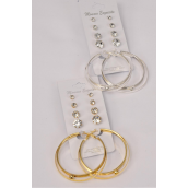 "Earrings 5 Pair Metal Loops & Large Acrylic Clear Studs/DZ **Post**  Loop Size-2"" Wide,Studs-3 4 6 8 mm Graduate,6 Gold & 6 Silver Mix,Earring Card & Opp bag & UPC Code,5 Pair per Card,12 Card= Dozen"