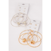 "Earrings 4 pair Metal Loop & Studs Mix/DZ Loop Size-2.25"" Wide,6 Gold & 6 Silver Mix,Earring Card & OPP Bag & UPC Code,4 pair per card,12 card= Dozen -"