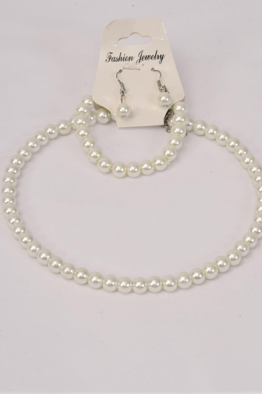 Necklace Sets Choker 16 inch 10 mm White Glass Pearl Flexible Bracelet/DZ **White** Bracelet is Stretch,Hang Tag & Opp Bag & UPC Code