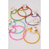 "Necklace Sets Choker 10 mm Glass Pearl Flexible W Bracelet/DZ **Citrus** Flexible,16"" Wide,2 Pink,2 Blue,2 White,2 Purple,2 Yellow,1 Orange,1 Lime, 7 Color Asst,Hang Tag & Opp Bag & UPC Code -"