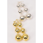 "Earrings Ball Shiney Dangle/DZ **Fish Hook** Size-2.25"" Long,16 mm 14mm 12 mm Graduated,6 Gold & 6 Silver Mix,Earring Card & OPP Bag & UPC Code"