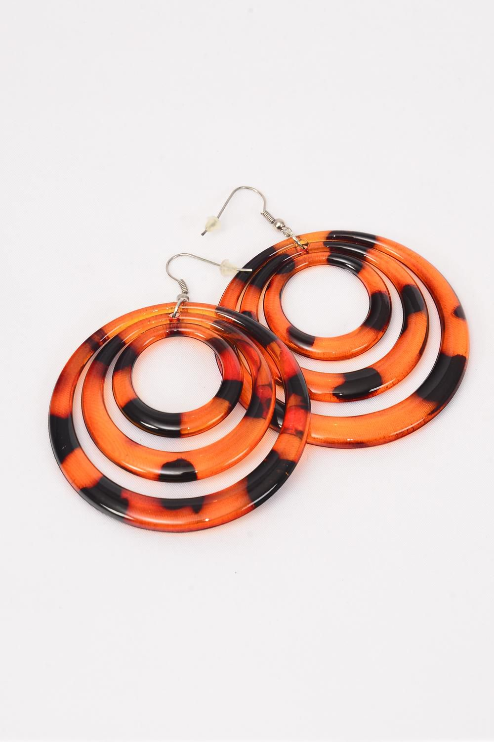 "Earrings Acrylic Tortoise Circle Dangle/DZ **Fish Hook** Size-2.5"" Wide,Earring Card & OPP Bag & UPC Code"
