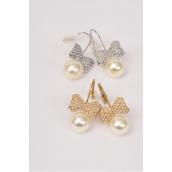 "Earrings Bow-tie Pearl Gold & Silver Asst/DZ **Fish Hook** Size-1""x 0.5"",6 White,6 Cream Pearl Asst,Earring Card & OPP Bag & UPC Code"