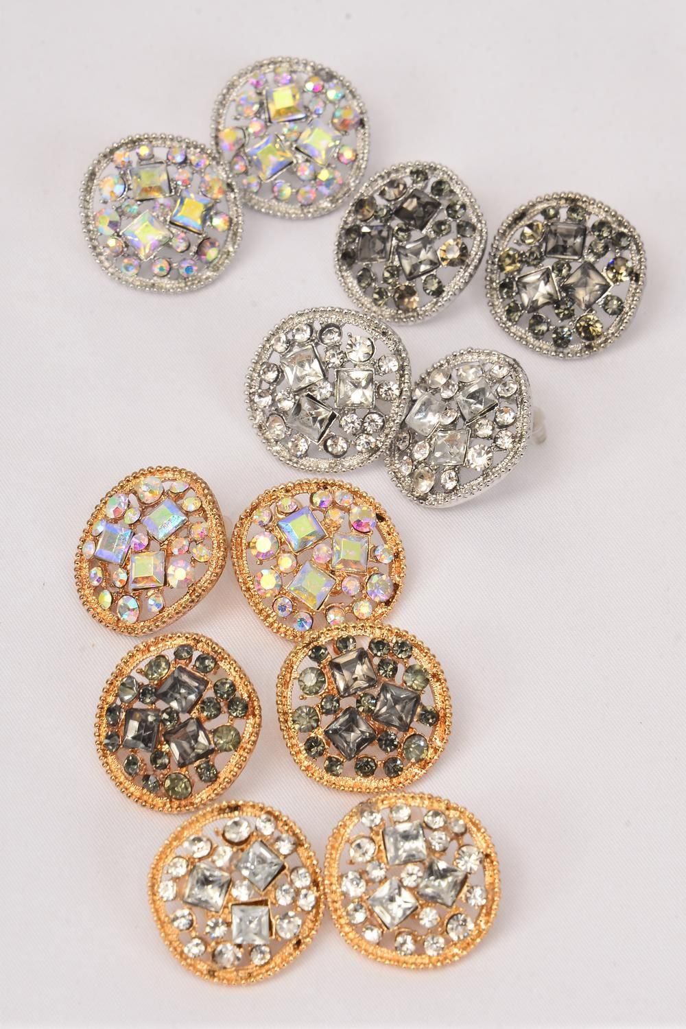 "Earrings Metal Rhinestone Gold & Silver Asst/DZ **Post** Size-1"",2 of each Color Asst,Earring Card & OPP Bag & UPC Code"