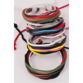 Bracelet Real leather Band & Color string Mix/DZ **Unisex** Adjustable,3 of each Color Asst,Hang Tag & OPP bag & UPC Code -