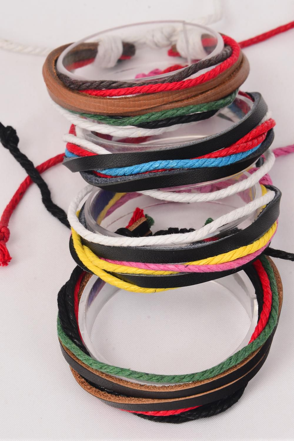 Bracelet Real Leather & Cotton Twist Mix 7 Layered Multi/DZ **Unisex** Adjustable,3 of each Color Asst,Hang Tag & OPP bag & UPC Code -