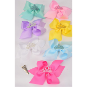 "Hair Bow Jumbo Center Tiara Pastel Grosgrain Bow-tie/DZ **Pastel** Alligator Clip, Bow-6""x 5"" Wide,2 White,2 Baby Pink,2 Yellow,2 Blue,2 Purple,1 Hot Pink,1 Mint Green,7 Color Mix,Clip Strip & UPC Code"