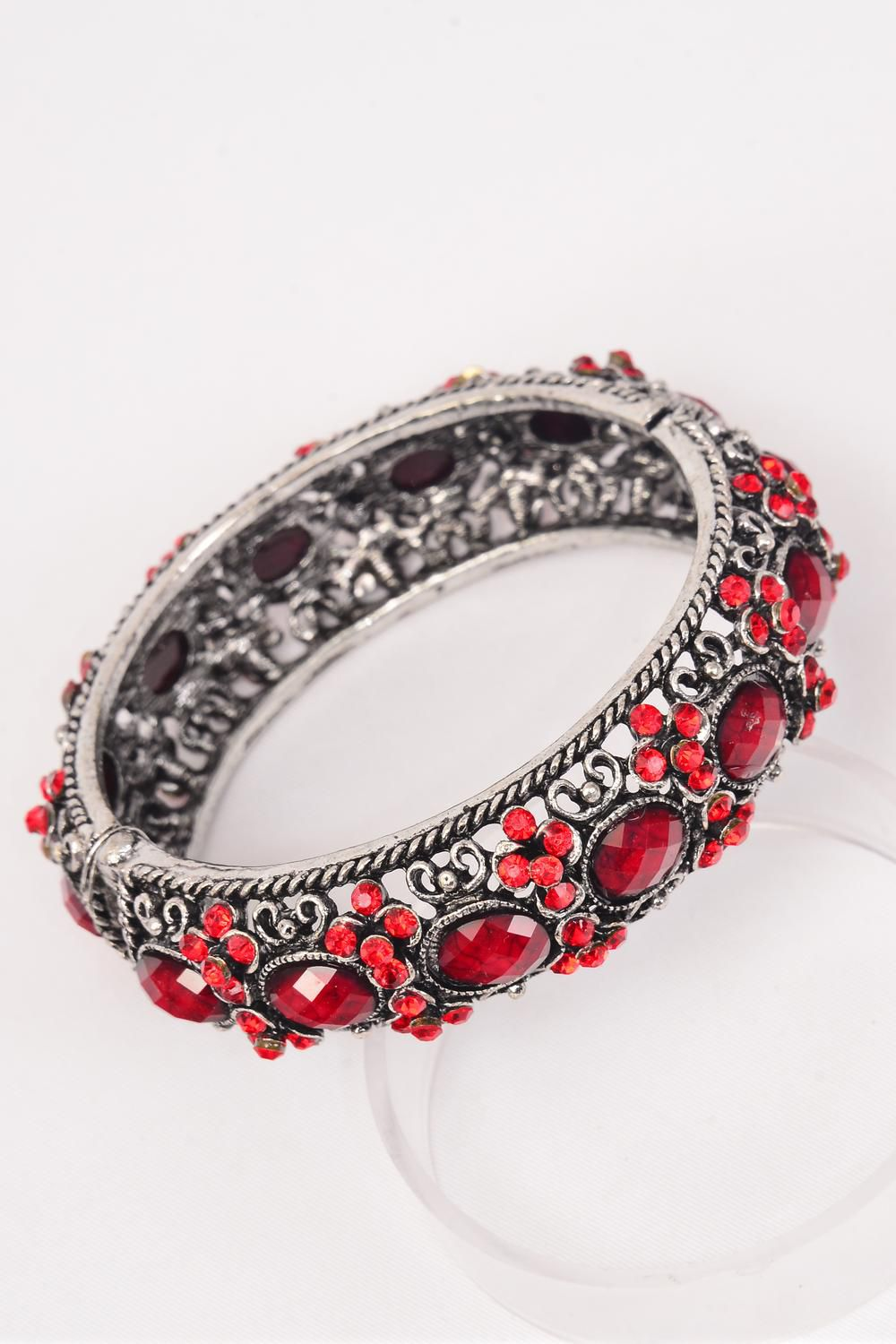 "Bangle Hinge Antique Silver Red Poly Stones & Rhinestones All Around mix/PC **Red** Hinge,Face Size-1"" Wide,Wrist Size-2""x 2.5"" Dia Wide,Hang Tag & OPP bag & UPC Code -"