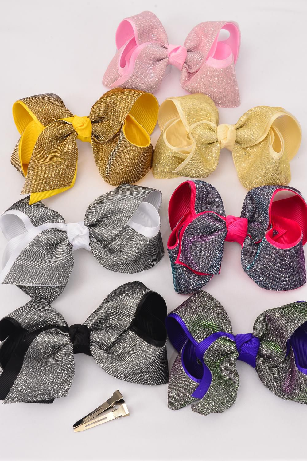 "Hair Bow Jumbo Mesh Fabric Double Layer Grosgrain Bow-tie/DZ **Multi** Alligator Clip,Size-6""x 5"" Wide,2 Black,2 Silver,2 Beige,2 Purple,2 Pink,1 Yellow,1 Blue,7 Color Asst,Hang Tag & UPC Code"