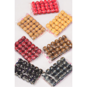 Wooden Beads Small 12 mm Wide W Clear Stones 288 pcs/DZ Size-12 mm Wide,OPP Bag,Choose Colors,24 pcs per Bag,12 Bag per Dozen