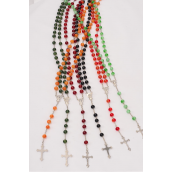 "Necklace Acrylic 10 mm Jade Color Prayer Beads/DZ 32"" Long,2 of each Color Asst,OPP Bag & UPC Code"