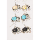 "Earrings Metal Antique Elephant Real Semiprecious Stone/DZ match 27133 **Fish Hook** Size-1""x 1"" Wide,4 Black,4 Ivory,4 Turquoise Asst,Earring Card & OPP Bag & UPC Code"