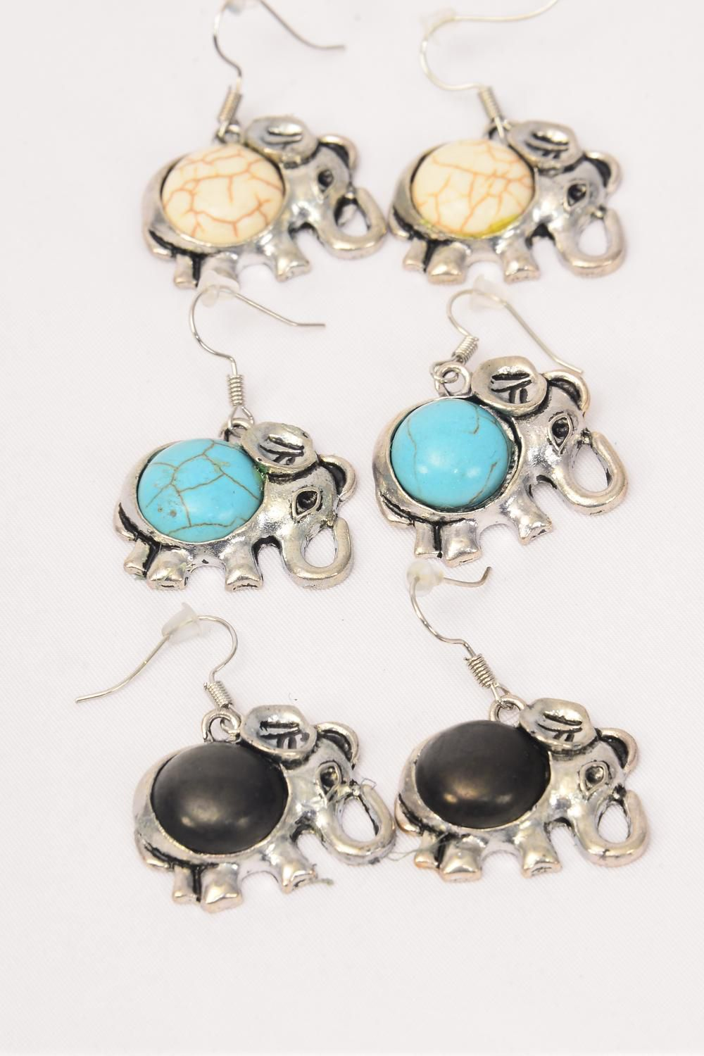 "Earrings Metal Antique Elephant Semiprecious Stone/DZ match 75029 **Fish Hook** Size-1""x 1"" Wide,4 Black,4 Ivory,4 Turquoise Asst,Earring Card & OPP Bag & UPC Code"