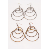 "Earrings Metal Circle Antique Finish/DZ **Fish Hook** Size-2.5""x 2"" Wide,6 Antique Gold & 6 Antique Silver Mix,Earring Cad & OPP bag & UPC Code -"