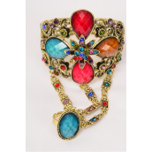 "Bangle Hinge & Ring Antique Cuff Poly Stones & Rhinestones mix/PC **Gold Multi** Hinge,Ring-Adjustable,Face Size-2.75""x 5"",Wrist Size-2""x 2.5"" ,Hang Tag & OPP Bag & UPC Code"