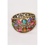 "Bangle Hinge Antique Gold MultiCuff Poly & Rhinestones Multi/PC **Antique Gold Multi** Hinge,Ring-Adjustable, Face Size-2""x4.25.5"",Wrist Size-2""x2.5"" Wide,Hang Tag & OPP Bag & UPC Code."