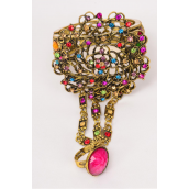 "Bangle Hinge & Ring Multi Cluster Rhinestone Flower Antique Gold/PC **Multi** Hinge,Ring-adjustable,Face Size-3"" wide,Wrist-2""x 2.5"" Wide,Hang Tag & OPP Bag & UPC Code -"