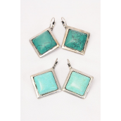 "Earrings Diamond shape Semiprecious Stones/PC **French Post** Size-1"" Wide,choose Green or Blue Turquoise,Black Velvet Display Card & OPP bag & UPC Code -"
