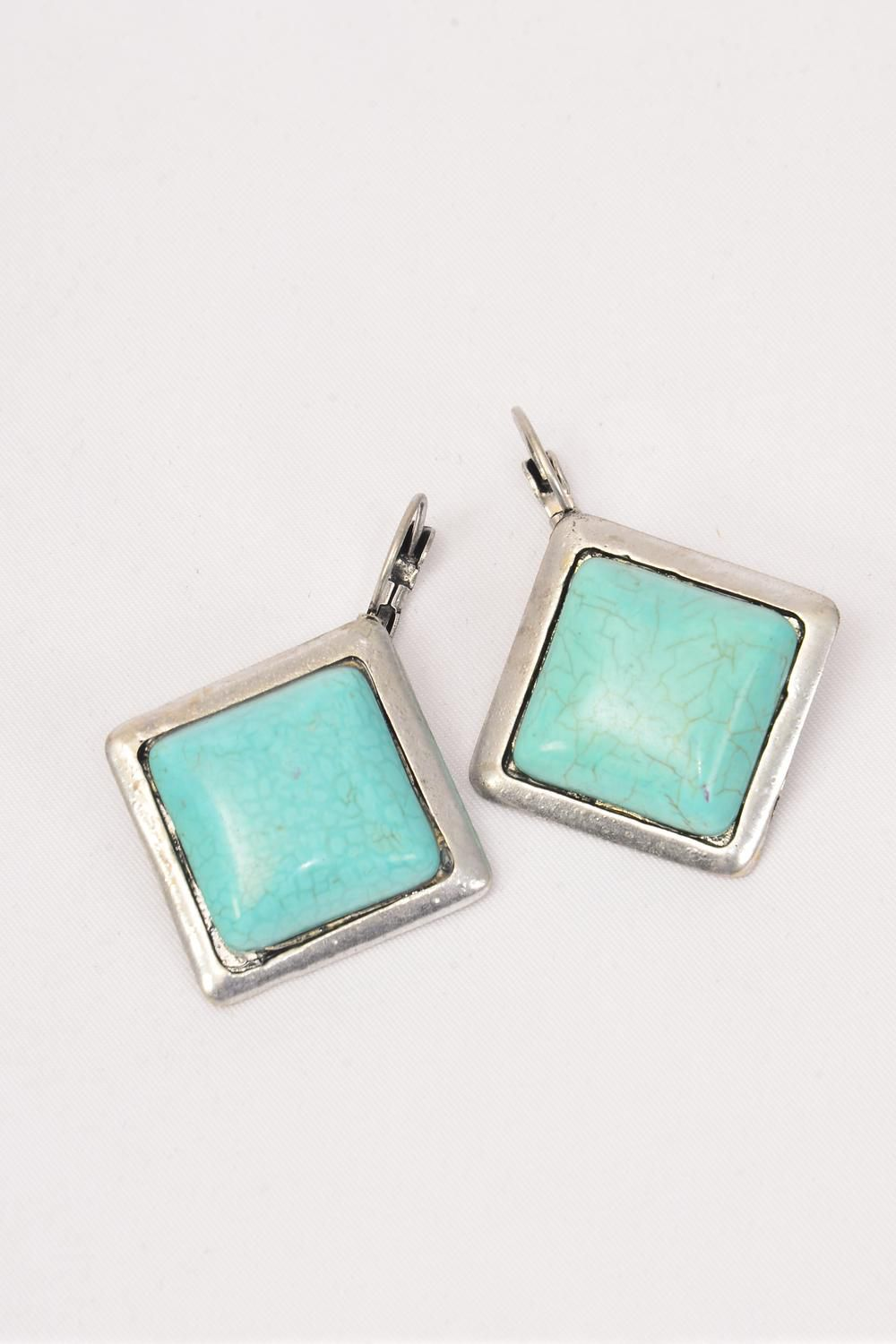 "Earrings Diamond shape Real Semiprecious Stones/PC **French Post** Size-1"" Wide,choose Green or Blue Turquoise,Black Velvet Display Card & OPP bag & UPC Code -"