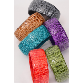 "Bangle Acrylic Carve Marble Look Multi/DZ **Multi** Size-2.75""x 1.25"" Wide,2 Olive,2 Black,2 Brown,2 Turquoise,2 Purple,1 Orange,1 Red,7 Color Asst,W Hang tag & OPP bag & UPC Code -"