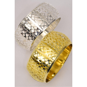 "Bangle Metal Heart Patterns Gold & Silver Mix/DZ Size-2.75"" X 1.5"",6 Gold & 6 Silver Mix, Hang Tag & OPP bag & UPC Code -"