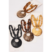 "Necklace Sets Wooden Beads Large Coconut Shell Pendant/DZ Pendant Size-2.5"" Wide,18"" Long,3 of each Color Asst,Display Card & OPP Bag & UPC Code"