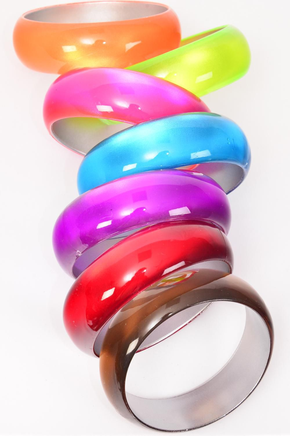 "Bangle Acrylic Cat eye Color Asst/DZ match 02102 Size-2.75""x 1"" Dia Wide,2 Red,2 Pink,2 Blue,2 Brown,2 Purple,1 Orange,1 Lime,7 Color Asst,Hang Tag & Opp bag & UPC Code"