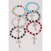 Bracelet Glass Crystal & Beads Mix Crucifix Charm/DZ **Stretch** Crucifix,2 of each Color Asst,hang Tag & OPP Bag & UPC Code -