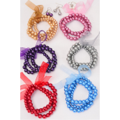 Bracelet & Earring Sets Ribbon 3 String Glass Pearls Dark Multi/DZ **Dark Multi** Stretch,8 mm 6 mm Mix,2 of each Color Asst,Hang Tag & Opp Bag & UPC Code