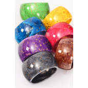 "Bangle Acrylic Wide Hinge Gold Splatter Dark Multi/DZ **Hinge** Size-2.75""x 1.75"" Dia Wide, 2 Brown,2 Red,2 Yellow,2 Black,2 Purple,1 Green,1 Blue,7 color Asst,hang Tag & Opp bag & UPC -"