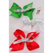 "Hair Bow Large XMAS Silver Metallic Red White Green Grosgrain Bow-tie/DZ **Alligator Clip** Size-6""x 6"" Wide,4 of each Color Asst,Clip Strip & UPC Code."