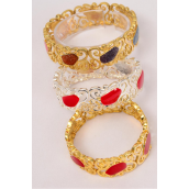 "Bracelet Bangle Stretch Enamel/DZ **Stretch** Size-0.75"" Dia Wide,Display Card & OPP Bag,choose Colors -"