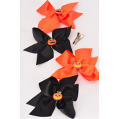 "Hair Bow Large Halloween Pumpkin Charm Grosgrain Bow-tie/DZ **Alligator Clip** Size-6""x 6"" Wide,3 of each Color Asst,Clear Strip & UPC Code"
