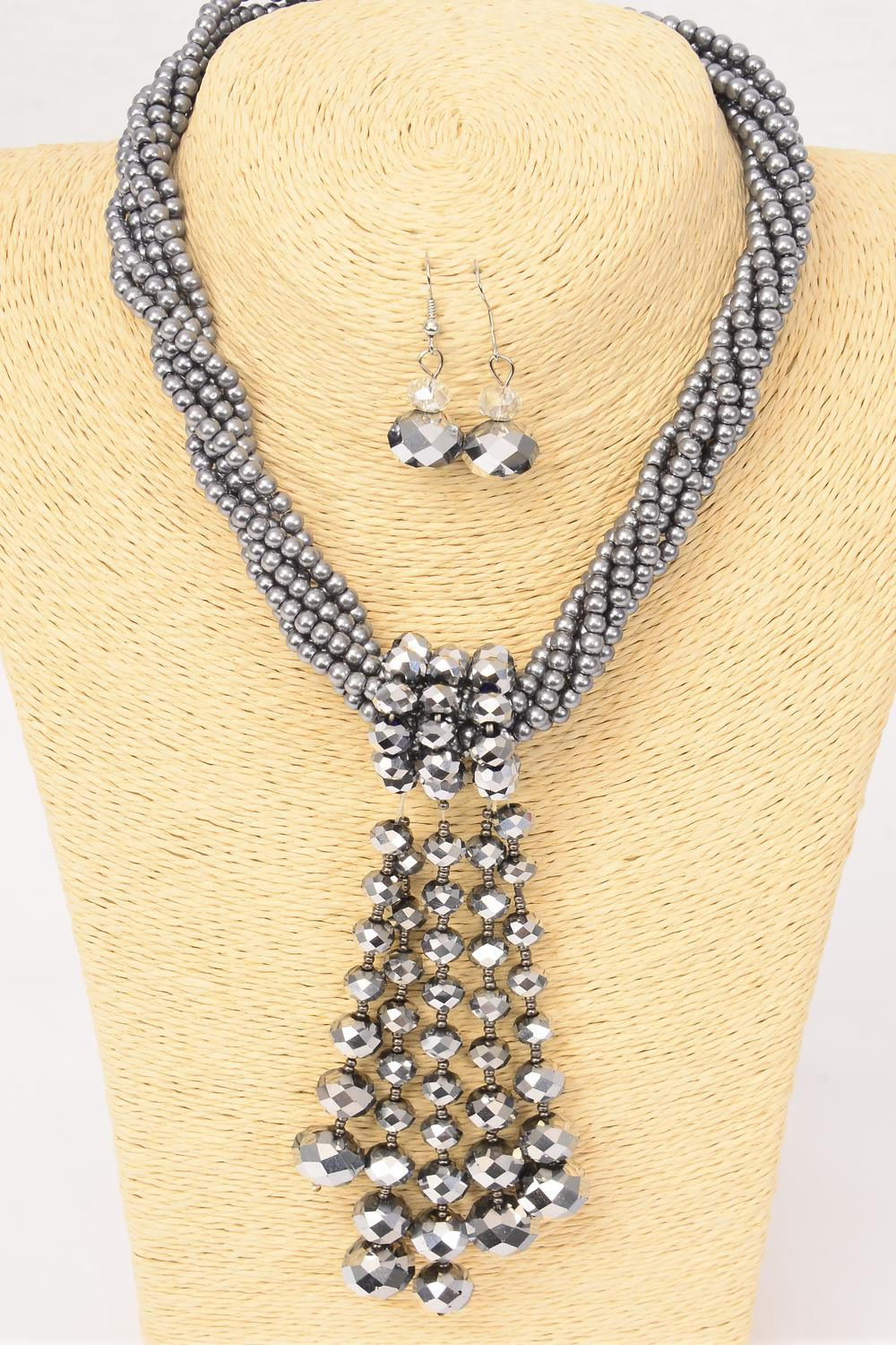 "Necklace Sets Gray Pearl & Glass Crystal Drop/Sets **Gray Pearl** Size-17"" Extension Chain,Hang Tag & OPP Bag & UPC Code -"