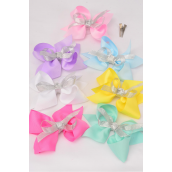 "Hair Bow Large Grosgrain Bowtie Pastel Silver Bowtie/DZ **Pastel** Alligator Clip,Size-6""x 5"" Wide,2 White,2 Pink,2 Yellow,2 Lavender,2 Blue,1 Hot Pink,1 Green,7 Color Mix,Clip Strip & UPC Code"