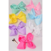"Hair Bow Jumbo 6""x 6"" Pastel Alligator Grosgrain Fabric Bow-tie/DZ **Pastel** Alligator Clip,Size-6""x 6"" Wide,2 White,2 Yellow,2 Blue,2 Hot Pink,2 Lavender,1 Pink,1 Green 7 Color Asst, Clear Strip & UPC Code"