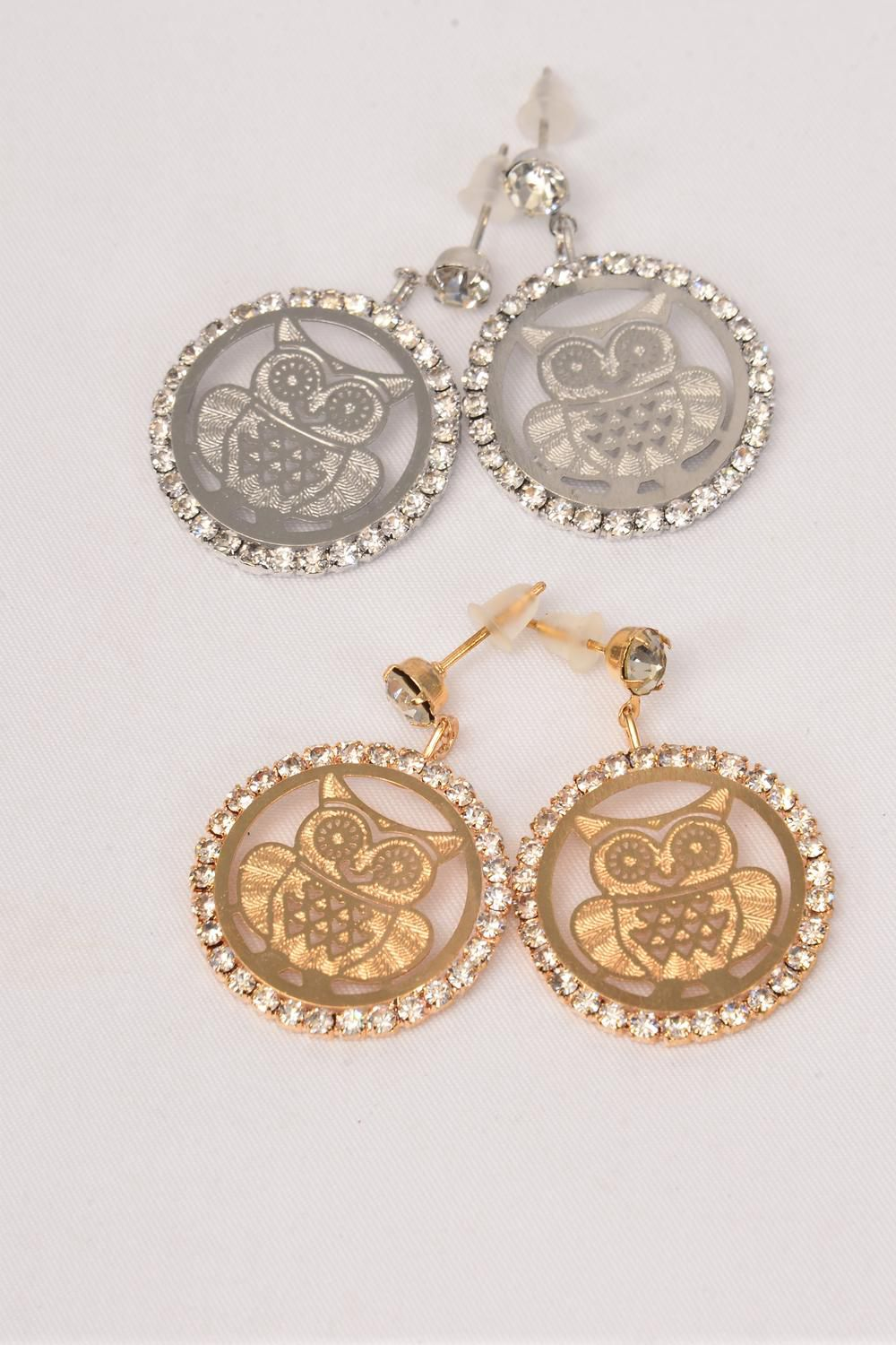 "Earrings Owl Filigree Rhinestones Post/DZ **Post**  Size-1.25""x 1"" Wide,6 Gold & 6 Silver Asst,Earring Card & OPP Bag & UPC Code"