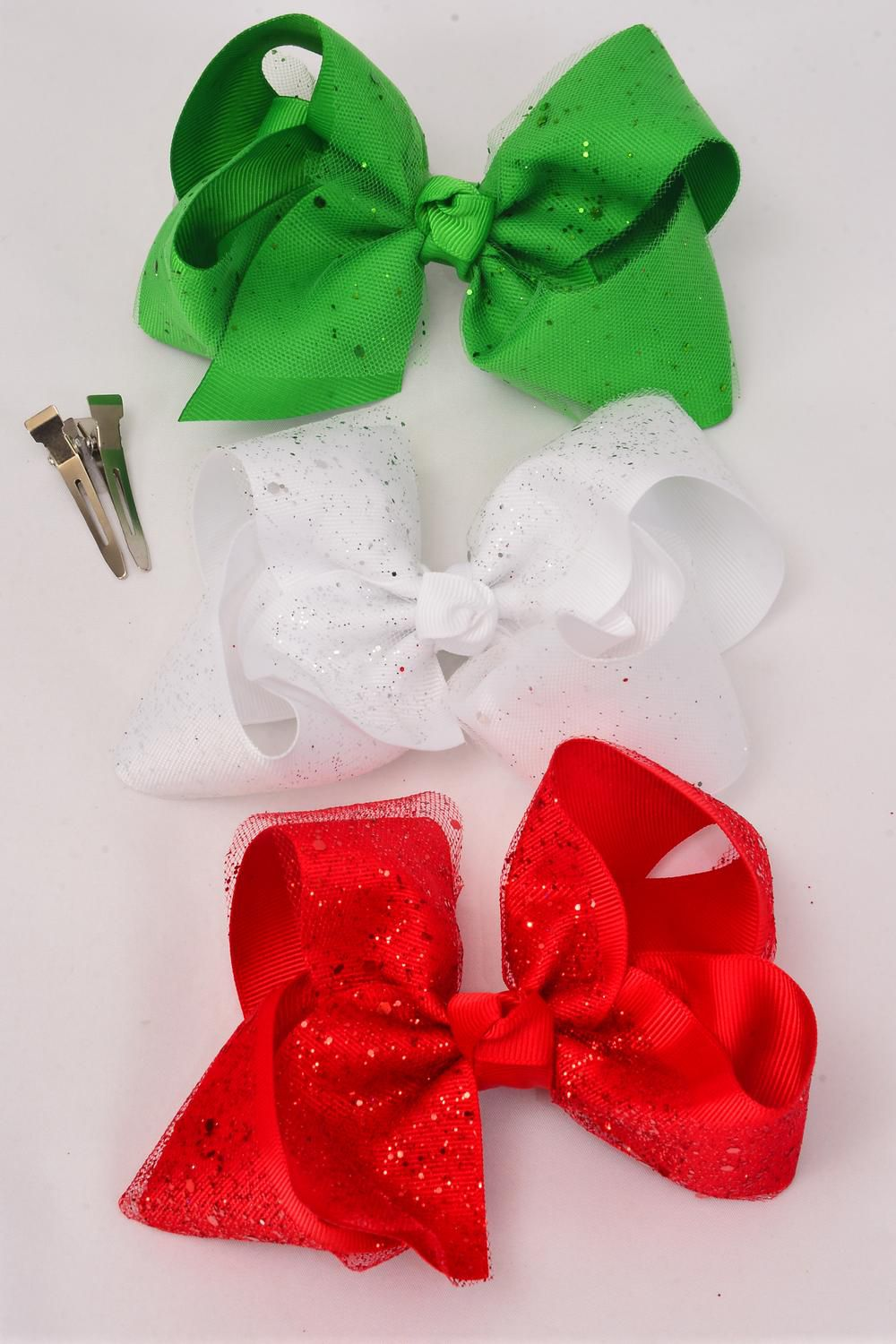 "Hair Bow Jumbo Large XMAS Double Layer Bow Metallic Red White Green Mix Grosgrain Bowtie/DZ **Alligator Clip** Size-6""x 5"" Wide,4 Red,4 White,4 Black,3 Color Asst,Clip Strip & UPC Code."