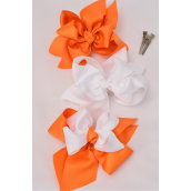 "Hair Bow Jumbo Double Layered Orange & White Mix Grosgrain Bow-tie/DZ **Orange & White Mix** Alligator Clip,Bow-6""x 6"" Wide,4 of each Color Asst,Clip Strip & UPC Code"
