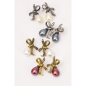 "Earrings Metal Bow-tie Rhinestone Pearl Drop/DZ **Post** Size-1"" x 1"",3 of each Color Asst,Earring Card & OPP Bag & UPC Code"