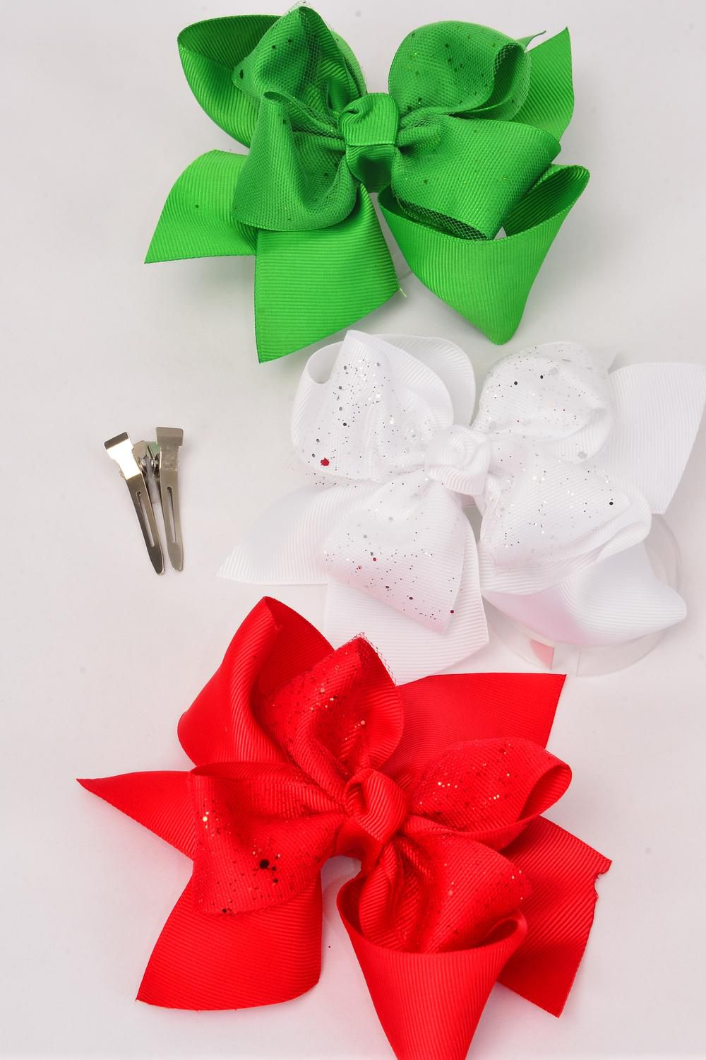 "Hair Bow Jumbo XMAS Double Layer Bow Metallic Red White Green Mix Grosgrain Bowtie/DZ **Alligator Clip** Size-6""x 6"",4 Red,4 White,4 Green,3 Color Asst,Clip Strip & UPC Code."