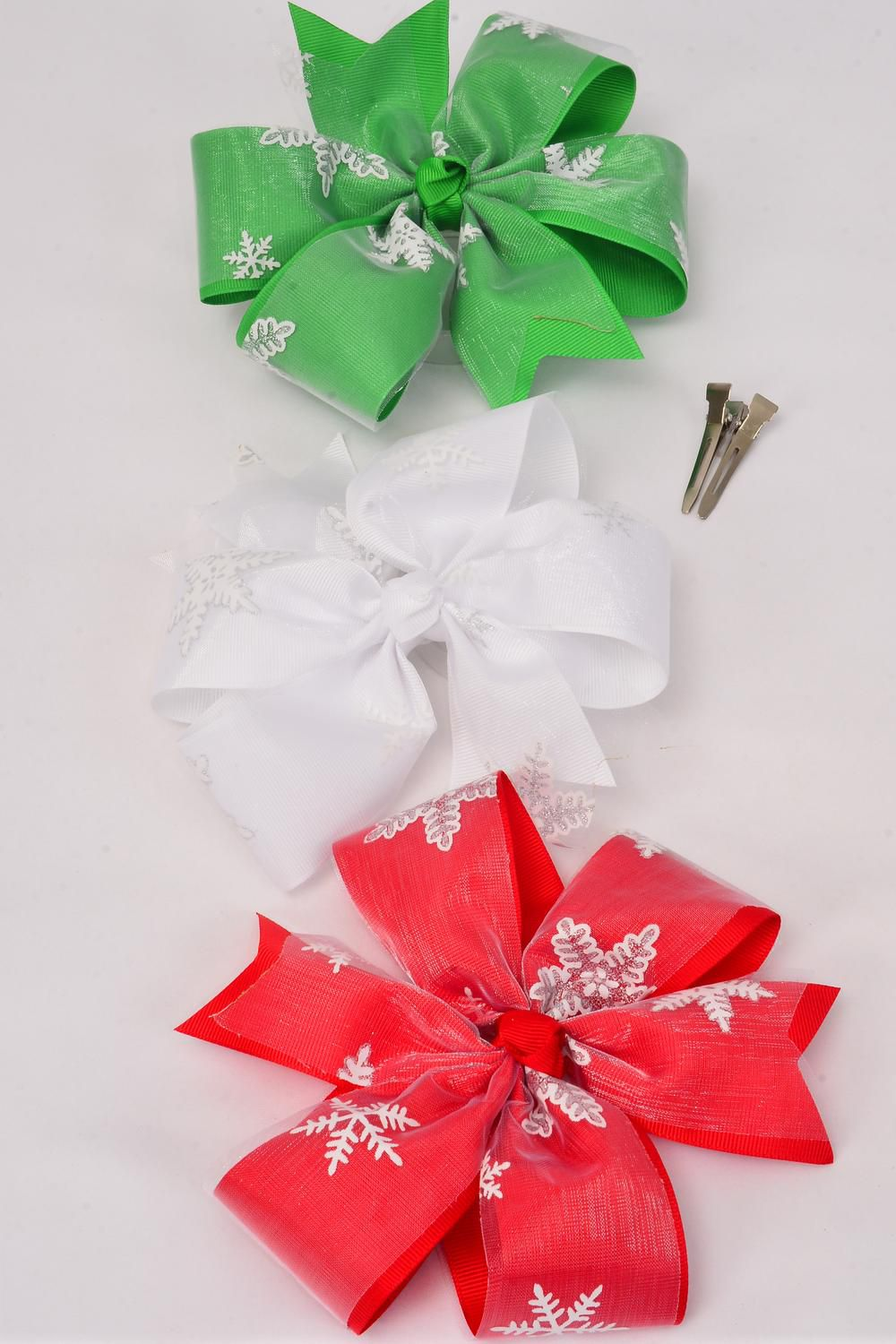 "Hair Bow Jumbo XMAS Snow Flake Red White Green Mix Grosgrain Bow-tie/DZ **Alligator Clip** Bow-6.5""x 6.5"" Wide,4 Red,4 White,4 Green,3 Color Asst,Clip Strip & UPC Code"
