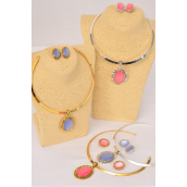 "Necklace Sets Choker Poly Oval Pendant/Sets **Clip On** Size-16"" Wide,Flexible,Display Card & Opp Bag & UPC Code,Chose Colors."