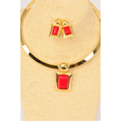 "Necklace Sets Gold Choker Red Poly Oblong Pendant/Sets **Red** Post,Size-16"" Wide,Flexible,Display Card & Opp Bag & UPC Code"
