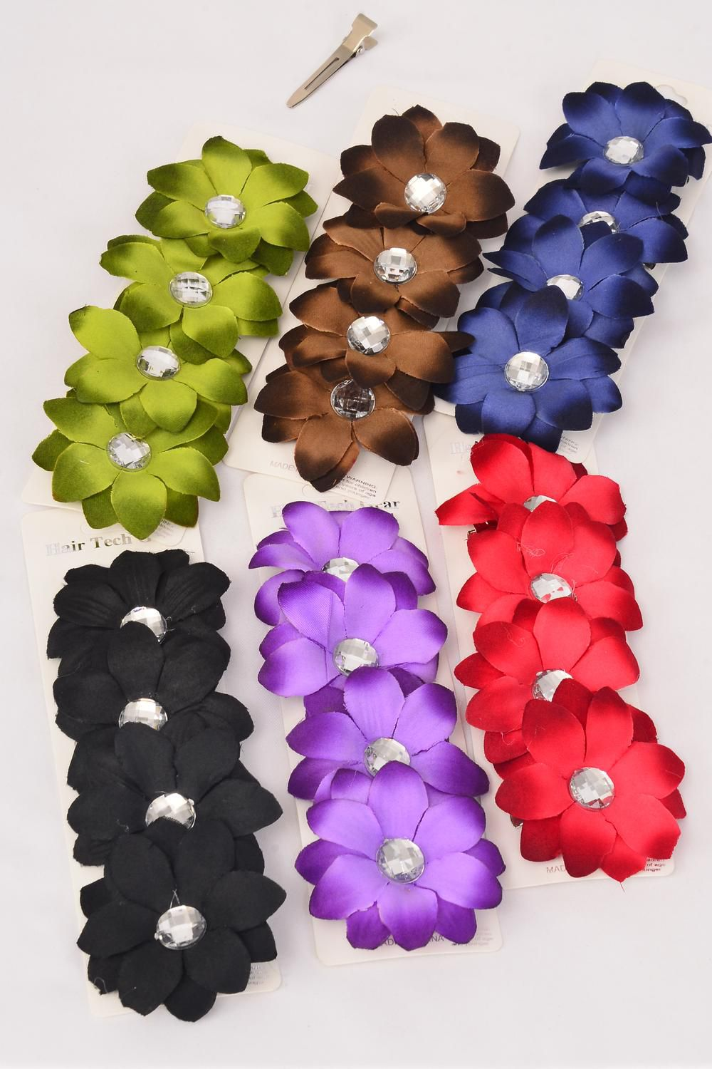 "Flowers 48 pcs Alligator Clip Flower Daisy & Clear Stone Dark Multi/DZ **Multi** Flower Size-2.75"" Wide,Alligator Clip,2 of each Color Asst,4 pcs per Card,12 card=DZ,UPC Code,W Clear Box -"