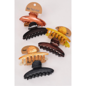 "Jaw Clip Sets Fall Acrylic Wood Finish Inner Pack of 2/DZ Size-3.5""x 1.75"" Wide,4 of each Color Asst,Hang Tag Individual OPP Bag UPC Code,2 pcs per Card,12 card=Dozen"