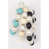 Bracelet 12 mm Glass Pearl & Oval Semiprecious Stone Mix Stretch/DZ **Stretch**4 of each Color Mix,Hang Tag & Opp Bag & UPC Code